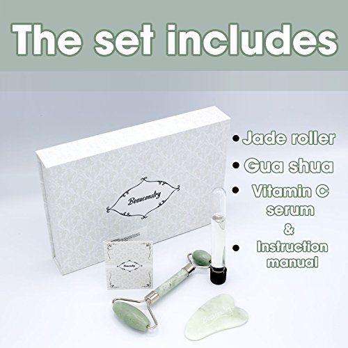 Jade Roller Face Massager Anti Aging Facial Therapy 100% Natural Jade Roller For Face Gua Sha Stone Double Neck Slimming Massager Rejuvenating Gift Boxed + Extra Gift Included by Beaucenstry (Image #3)