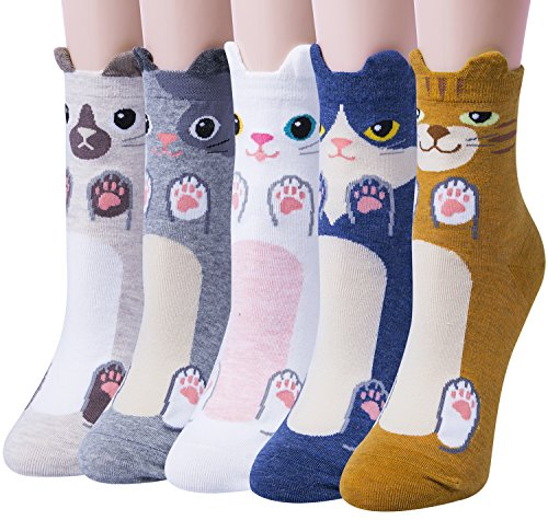 Amandir 5 Pairs Womens Cute Animal Socks, Funny Casual Cat Cotton Socks