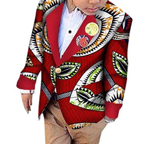 - Fieer Boy's African Print Leisure Cardigan Batik Jacket Coat Small Blaze Five S