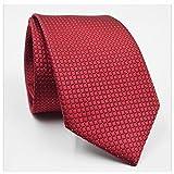 GOOTRADES Classic Checks Jacquard Woven Men's Tie Necktie for Wedding Party (Red)