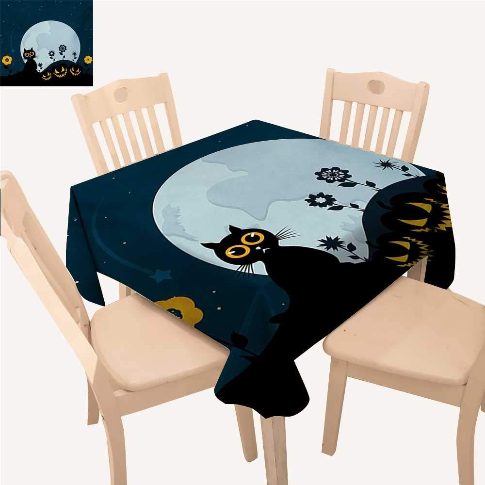 WinfreyDecor ハロウィン ピクニッククロス バットの雲 夜に飛び回る 満月 秋 夏 テーブルクロス ナイトブルー ブラック グレー W 70
