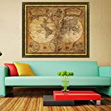Doinshop Photo Wallpaper Vintage Retro Cloth Poster Wall Decoration Wall Quote (World Nautical Map) by Doinshop