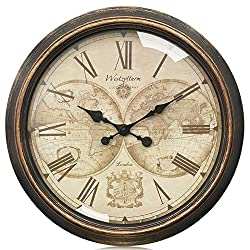 Westzytturm Basic Wall Clock Vintage 22 inch Big Round World Face Metal Hands Plate Gold Retro Silent Non Ticking Battery Operated Rustic Hanging Clocks Home Decor Art Living Room Bedroom Office