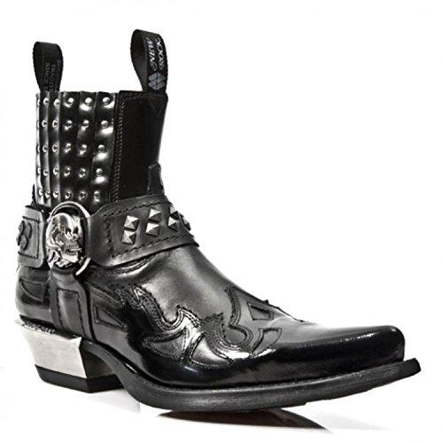 NEWROCK Mens New Rock 7950 Ankle Studs West Boots Black Leather Steel Heels Boot (UK 10 / EU 44)
