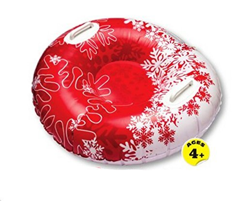 Pipeline Snow Tube Sled Racer Red Snowflakes 32 inch with Handles