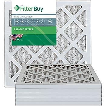 FilterBuy 10x10x1 MERV 13 Pleated AC Furnace Air Filter, (Pack of 6 Filters), 10x10x1 - Platinum