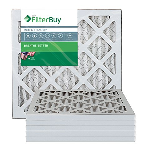 AFB Platinum MERV 13 14x14x1 Pleated AC Furnace Air Filter. Pack of 6 Filters. 100% produced in the USA.