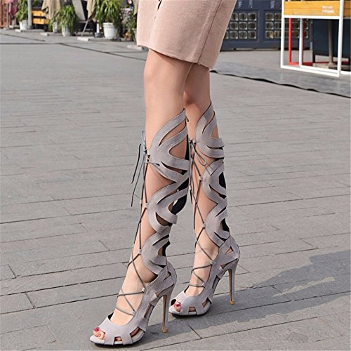 cordones botas altos mate zapatos Lace tacones del Up canister de zapatos gamuza de gray Tamaño apqTSXw