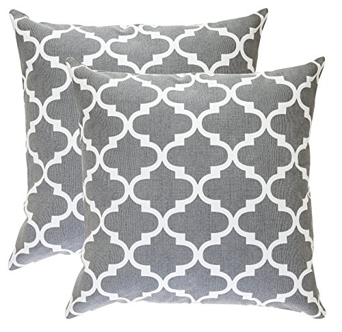 TreeWool Decorative Square Throw Pillow Covers Set Trellis Accent 100% Cotton Cushion Cases Pillowcases (18 x 18 Inches / 45 x 45 cm; Graphite Grey & White) - Pack of 2