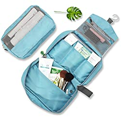 MonTrüe Portable Clear Hanging Travel Toiletry Bag   Lightweight Waterproof Shower Tote Bag   Cosmetic Makeup Pouch for Men & Women, Sky Blue