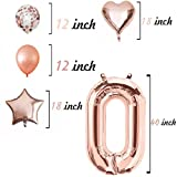 40 Inch Rose Gold 2018 Foil Balloons,Rose Gold Confetti Balloons,Latex Balloons,Hearts,Stars,24 Count,Wedding,Bridal Shower,Graduation Party Decorations Supplies