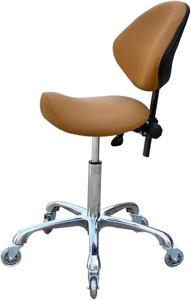 FRNIAMC Adjustable Saddle Stool Chairs with Back Support Ergonomic Rolling Seat for Medical Clinic Hospital Lab Pharmacy Studio Salon Workshop Office and Home … (with Backrest, Camel)