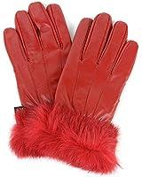 Alpine Swiss Women's Leather Dressy Gloves Rabbit Fur Trim Cuff Thermal Lining