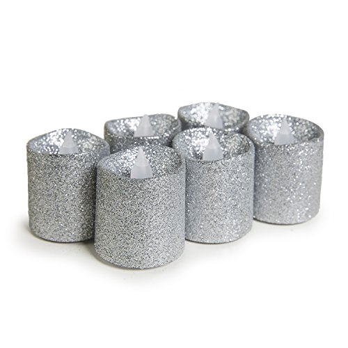 WYZworks Silver Glitter Flameless Candle