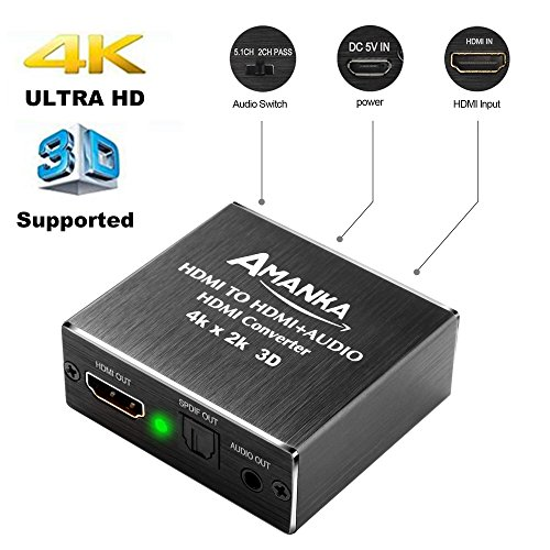 AMANKA 4K x 2K 3D HDMI to HDMI and Optical SPDIF + 3.5mm Stereo Audio Extractor Converter HDMI Audio Splitter Adapter for Blue-ray PC Laptop Xbox One HDTV by AMANKA