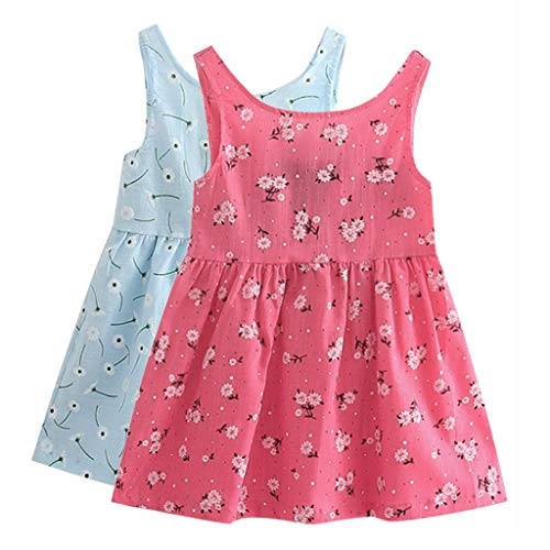Sameno 2pcs Kids Little Girls Cotton Tank Dress Sleeveless Summer Casual Sundress Tunic Shirt Dress Jumper 3-7 Years Old