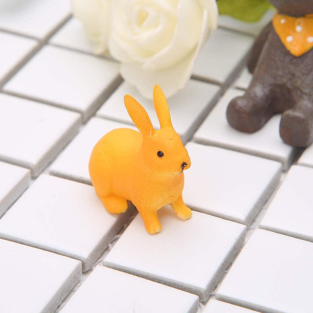 terrario Figura Decorativa de Conejo de pl/ástico en Miniatura decoraci/ón de jard/ín de Hadas KOFUN Color Gris