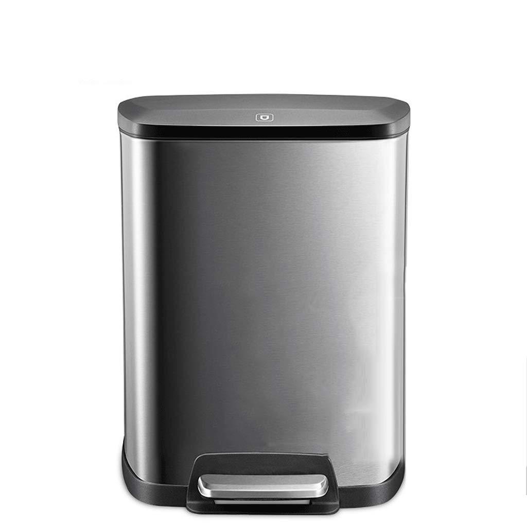 LINGZHIGAN キッチンビンステンレスゴミ箱ホームヨーロッパの居間ベッドルームバスルームペダルタイプのカバースクエアチューブ (色 : シルバー しるば゜) B07KVZL8TH シルバー しるば゜