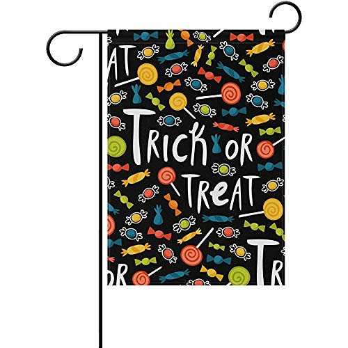 SGBTJKU Double Sided Premium Garden Flag 12 x 18 Inches Halloween Spooky Ghost and Owl Trick Or Treat Candy Polyester Garden Flag ES, Decorative Yard Flag for Party Home Outdoor Decor -