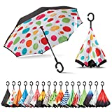 Sharpty Inverted Umbrella, Best Windproof Umbrella, Reverse Umbrella, Umbrella with UV Protection, Upside Down Umbrella with C-Shaped Handle (Polkadots)