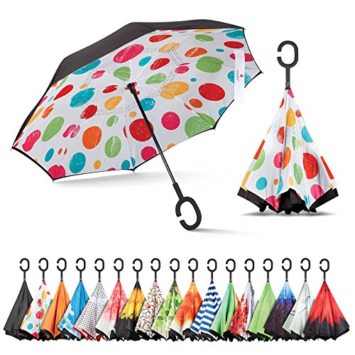 Sharpty Inverted Umbrella, Best Windproof Umbrella, Reverse Umbrella, Umbrella with UV Protection, Upside Down Umbrella with C-Shaped Handle - Ruffle Parasol