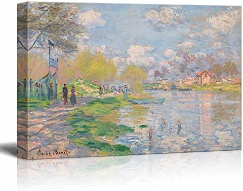 Spring by The Seine by Claude Monet Print Famous Painting Reproduction