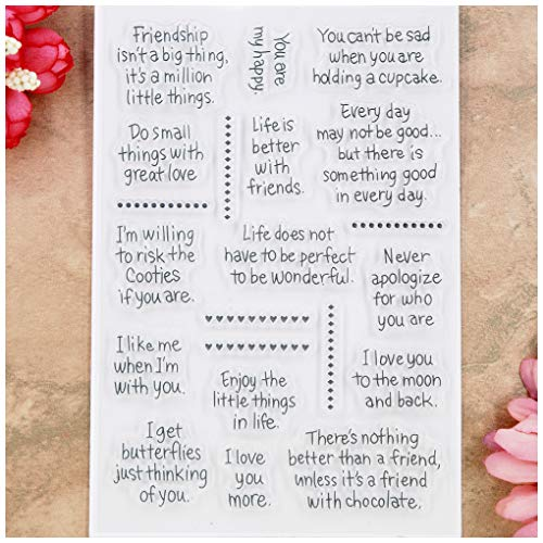 Kwan Crafts Word Friendship Life Enjoy Love Clear Stamps for Card Making Decoration and DIY Scrapbooking