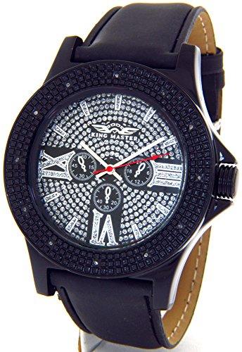 Mens King Master Genuine Diamond Watch Black Tone Case Black Leather Band #KM-577
