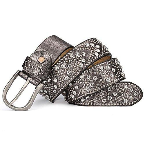 YAMEZI Women's Novelty Silver Gray Retro PU And Cow Composite Rhinestone Studded Rivets Belt