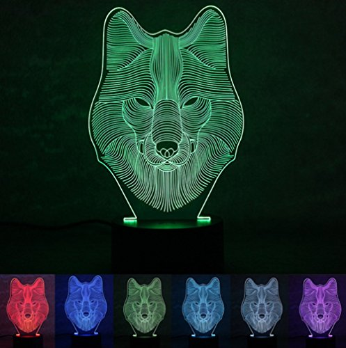 Ksweet 3d Illusion Led Lamps Decor Wolf 3D Lights for Kids Table Lamps LED Night Light 7 Color Lights