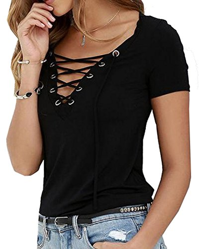 Comfy Women's Deep VNeck Low Cut Drawstring Stylish Casual TShirt Black US (Deep V-neck Drawstring)