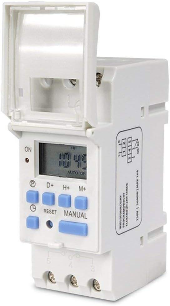 GreenBlue - GB104 Temporizador digital, planificador semanal, DIN 16A, Carril DIN, panel de control: Amazon.es: Bricolaje y herramientas