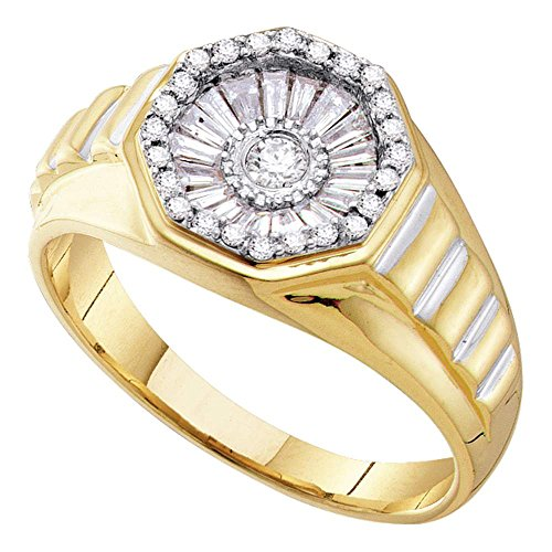14kt Yellow Gold Mens Round Diamond Two-tone Concave Cluster Ribbed Ring 1/2 Cttw 14kt 2 Tone Diamond Ring