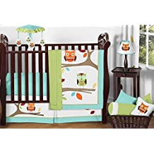 Sweet Jojo Designs 11-Piece Turquoise and Lime Hooty Owl Unisex Baby Boy or Girl Bedding Crib Set Without Bumper
