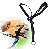 ZOTO Dog Head Collar, Pet Dog Adjustable Nylon Reflective Dog Halter, Loop Bite Bark Control Dogs Pulling Training Tool, Small Size, Black Color