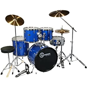 Drum Set Adult Size Blue Full Size with Cymbals Stands Sticks Stool and Extra Boom Cymbal 4
