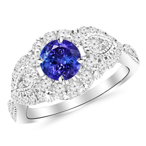 14K White Gold Designer Vintage Halo Diamond Engagement Ring with a 0.75 Carat Tanzanite AAA Heirloom Center ()