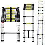 Extendable Ladder - Heavy Duty Aluminum -Telescopic Extension Ladder -Non Slip - 12.5 foot - Non Slip Feet - 330 Lbs - By Mix Maxx