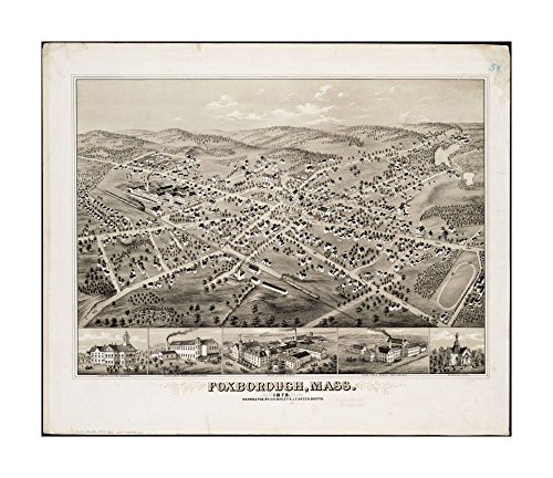 1879 Wall Map Foxboro Foxborough, Mass: 1879 Bird's-eye view.Includes ill.Norfolk|Ready to Frame|Historic Antique Vintage - Outlets Map Norfolk