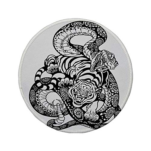 Non-Slip Rubber Round Mouse Pad,Tiger,Tattoo Style Scene of Two Animals Fighting Long Snake with Sublime Large Cat Battle,Black White,7.87