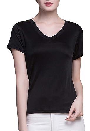 6085da487ff0 Amazon.com: METWAY Women's Short Sleeve Mulberry Silk V-Neck T-Shirt ...