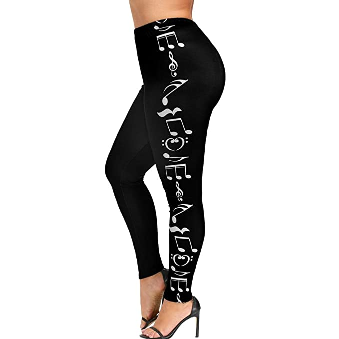 Musical Note Print Leggings, Womens High Waist Plus Size Yoga Pants Sports Gym Running Fitness Pants by E-Scenery