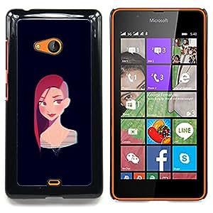 """For Nokia Lumia 540 Case , Redhead chica punky Negro Cartoon"""" - Diseño Patrón Teléfono Caso Cubierta Case Bumper Duro Protección Case Cover Funda"""