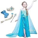 CREDIBLE 子供 用 プリンセス ドレス コスチューム 豪華6点セット ・アイスブルー ( プリンセスドレス , ハートのティアラ , 魔法のステッキ , 三つ編みウィッグ , 手袋 , CREDIBLEオリジナルグッズ ) 110cm NT331