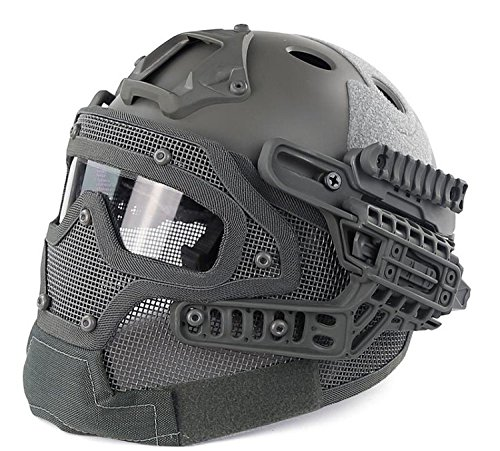 H World Shopping Tactical Protective Helmet Full Face Mask Googgles G4 System Airsoft Paintball Solid Color (FG) by H World Shopping