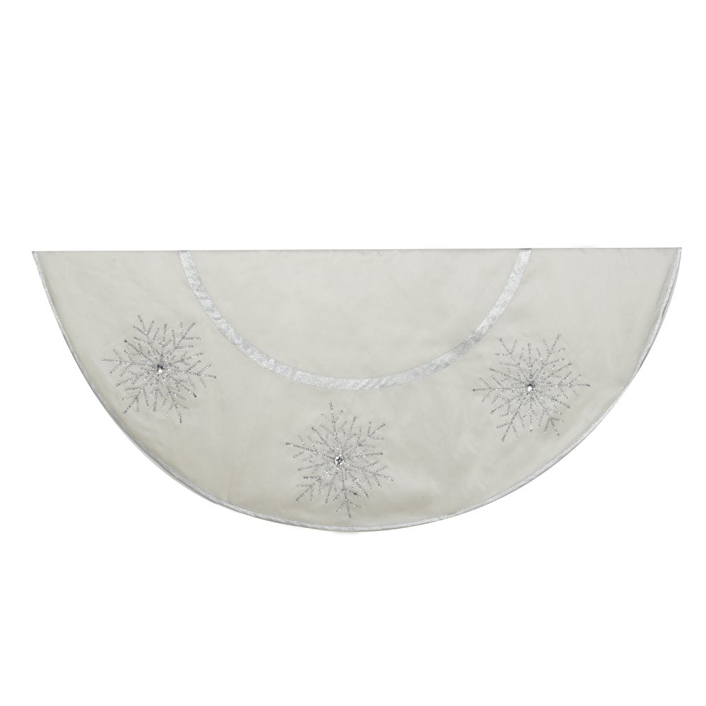 Kurt Adler Tree skirt with Crystal Lace Snowflakes, 54-Inch, Ivory