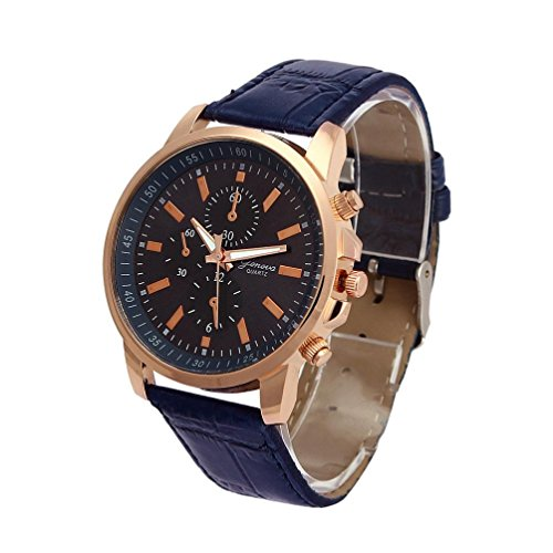 Auwer Watches,2018 New Waterproof Unisex Casual Geneva Faux Leather Quartz Analog Wrist Watch Fashion - Michael Gold Rose Kors Face Blue