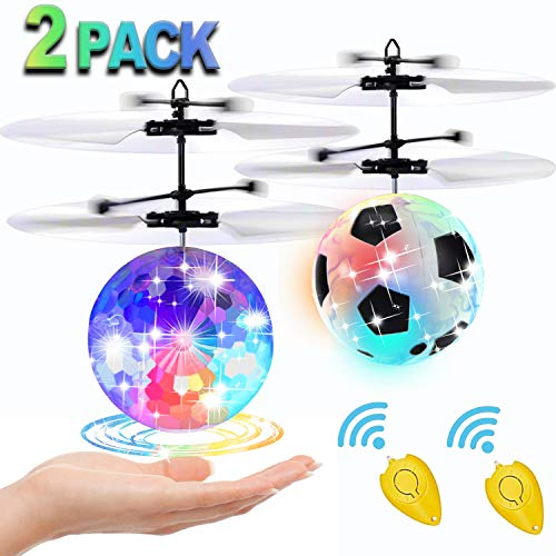 [2 Pack] Flying Ball Toys, Best Gifts for Kids Boys Girls Magic RC Flying Toys Helicopter Infrared Induction Drone with Remote Controller – Replace Screen Time with Healthy Family Fun (in 1 Package)