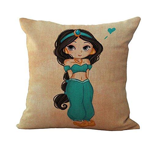 Jasmine 3 Light Bath (ME COO Brands Cojine Sweet Flower Girls Pattern Pillow Case My Little Princess Throw Pillow Cover Decorative Pillowcase Capa De Almofadas 17 Inches x 17 Inches)