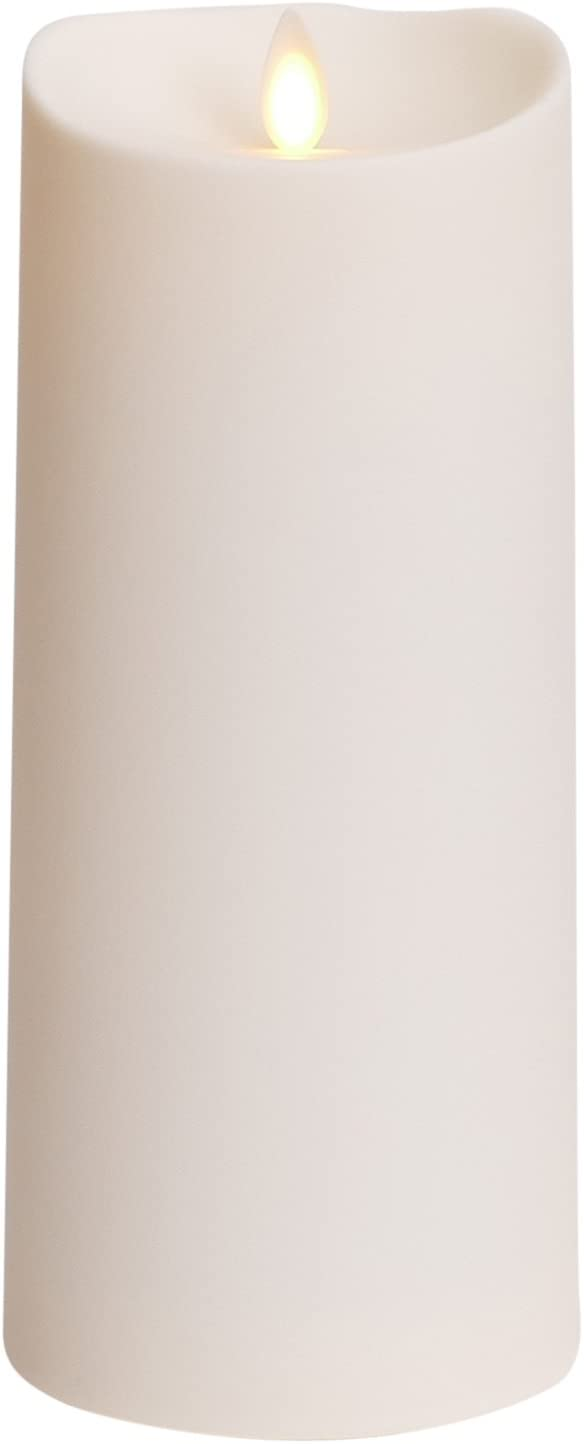 Luminara Outdoor Flameless Candle Plastic Finish, Unscented Moving Flame Candle with Timer 9 Ivory